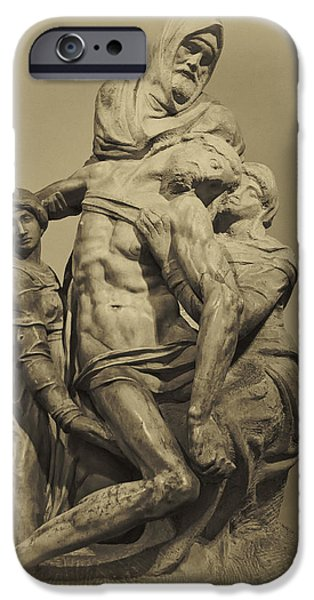Statue Portrait iPhone Cases - Michelangelos Florence Pieta iPhone Case by Melany Sarafis