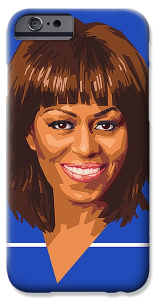 Michelle Obama Portrait iPhone Cases - Michelle iPhone Case by Douglas Simonson