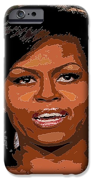 Michelle Obama Digital iPhone Cases - Michelle Obama iPhone Case by Dalon Ryan
