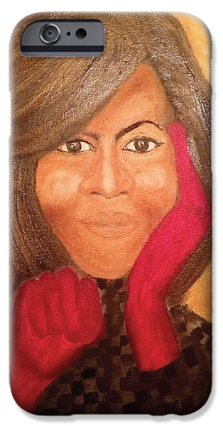 Recently Sold -  - Michelle Obama Paintings iPhone Cases - Michelle Obama iPhone Case by Ginnie McKnight