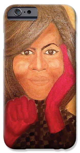 Michelle Obama iPhone Case by Ginnie McKnight