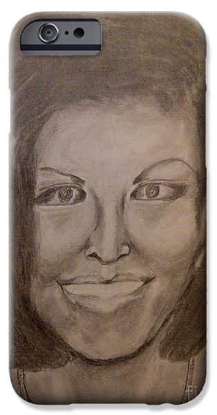 First Lady Portrait Drawings iPhone Cases - Michelle Obama iPhone Case by Irving Starr