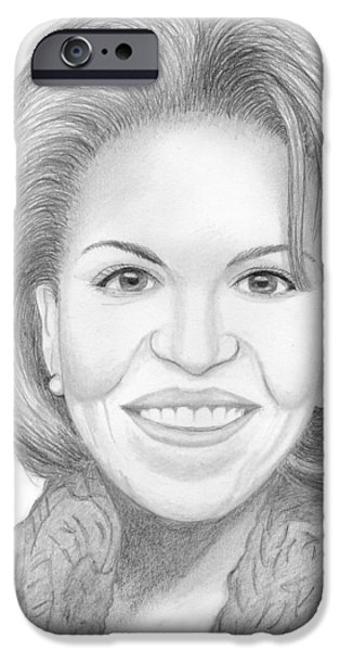 First Lady Portrait Drawings iPhone Cases - Michelle Obama iPhone Case by Jose Valeriano
