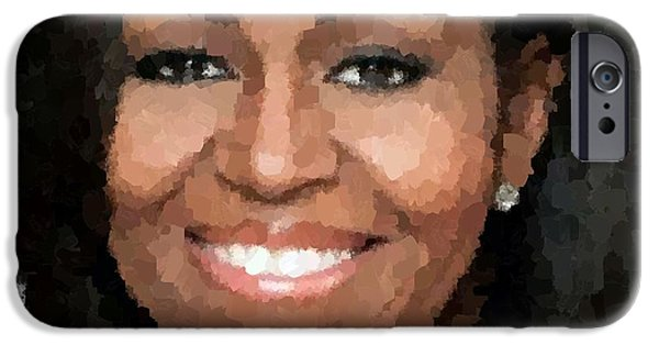 Michelle Obama Portrait iPhone Cases - Michelle Obama iPhone Case by Samuel Majcen