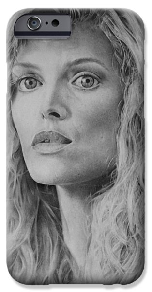 Michelle Drawings iPhone Cases - Michelle Pfeiffer iPhone Case by Damir Kulusic