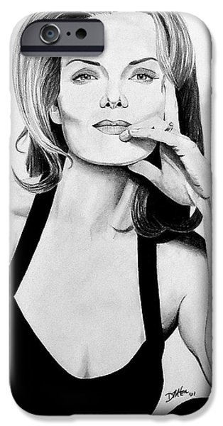 Michelle Drawings iPhone Cases - Michelle Pfeiffer iPhone Case by Devin Millington