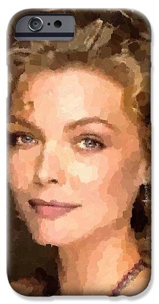 Michelle Pfeiffer iPhone Cases - Michelle Pfeiffer Portrait iPhone Case by Samuel Majcen