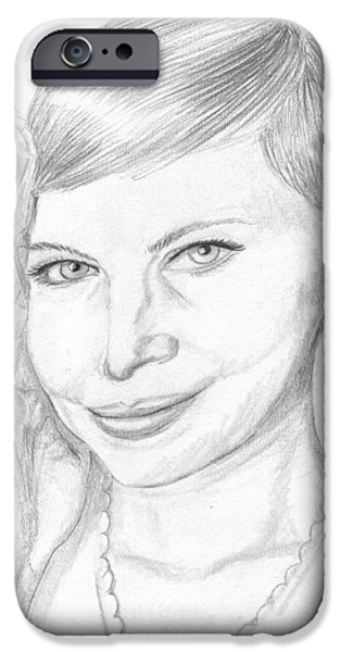 Michelle Drawings iPhone Cases - Michelle Williams iPhone Case by Jose Valeriano