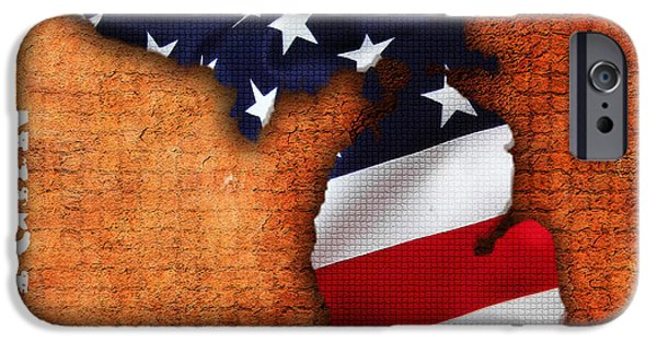 States iPhone Cases - Michigan Amercian Flag State Map iPhone Case by Marvin Blaine
