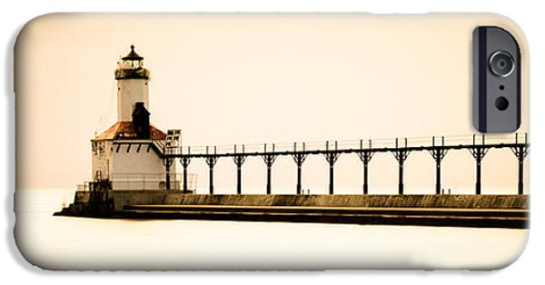 Lighthouse iPhone Cases - Michigan City Lighthouse at Sunset Panorama Picture iPhone Case by Paul Velgos
