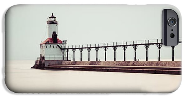 Lighthouse iPhone Cases - Michigan City Lighthouse Panoramic Picture iPhone Case by Paul Velgos