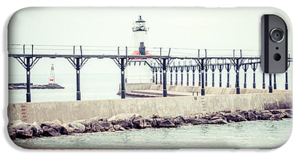 Lighthouse iPhone Cases - Michigan City Lighthouse Retro Panorama Photo iPhone Case by Paul Velgos