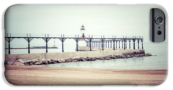 1960s iPhone Cases - Michigan City Lighthouse Retro Photo iPhone Case by Paul Velgos