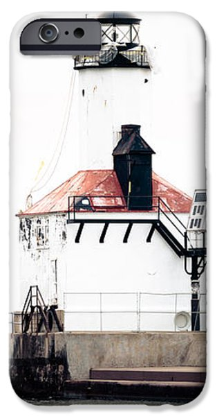 Lighthouse iPhone Cases - Michigan City Lighthouse Vertical Panorama iPhone Case by Paul Velgos