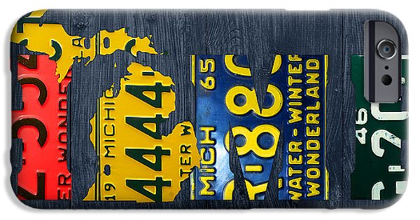 Michigan iPhone Cases - Michigan Home Recycled Vintage License Plate Art State Shape Lettering Phrase iPhone Case by Design Turnpike