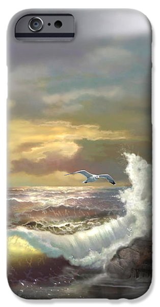 Michigan Seul Choix Point Lighthouse with an Angry Sea iPhone Case by Gina Femrite