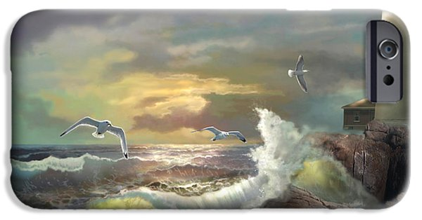 Sunset Paintings iPhone Cases - Michigan Seul Choix Point Lighthouse with an Angry Sea iPhone Case by Gina Femrite