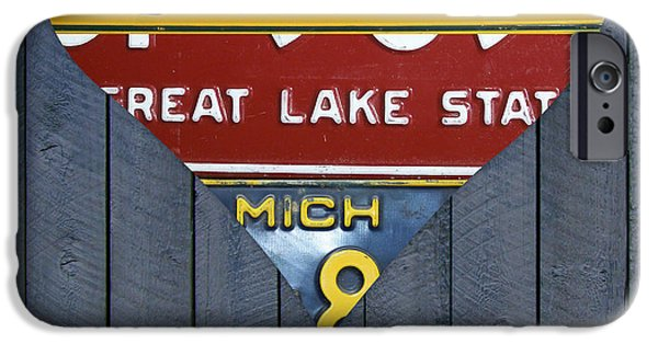Board Mixed Media iPhone Cases - Michigan Love Heart License Plate Art Series on Wood Boards iPhone Case by Design Turnpike