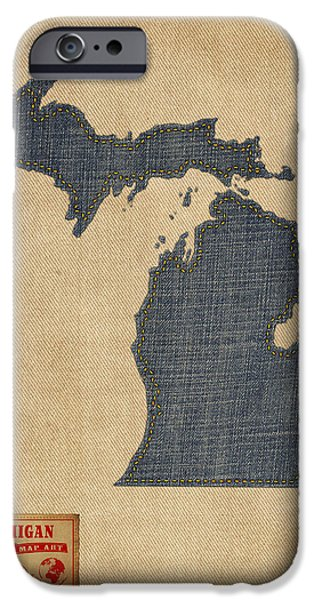 Geography iPhone Cases - Michigan Map Denim Jeans Style iPhone Case by Michael Tompsett