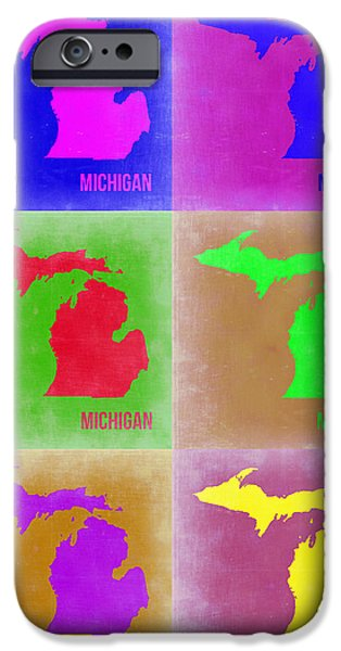 Home iPhone Cases - Michigan Pop Art Map 2 iPhone Case by Naxart Studio