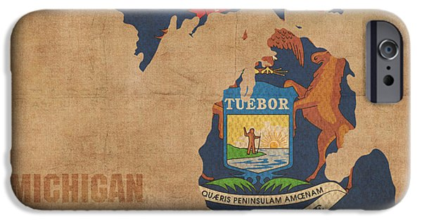 Michigan iPhone Cases - Michigan State Flag Map Outline With Founding Date on Worn Parchment Background iPhone Case by Design Turnpike