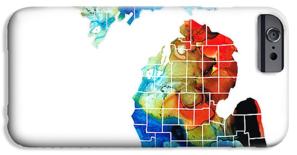 Chicago iPhone Cases - Michigan State Map - Counties by Sharon Cummings iPhone Case by Sharon Cummings