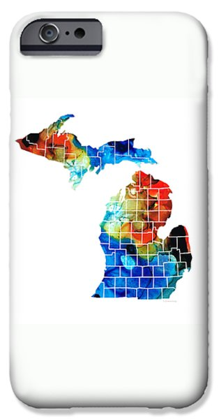 Creek Mixed Media iPhone Cases - Michigan State Map - Counties by Sharon Cummings iPhone Case by Sharon Cummings