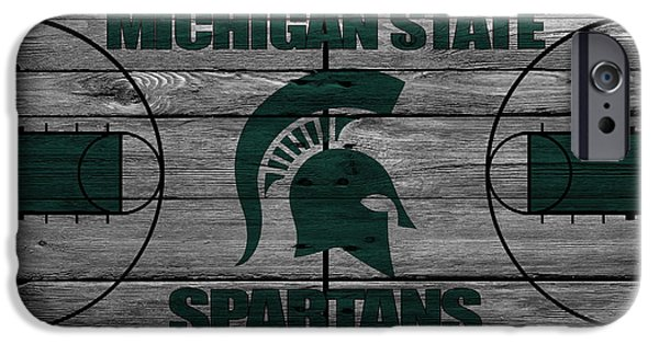 Santa iPhone Cases - Michigan State Spartans iPhone Case by Joe Hamilton
