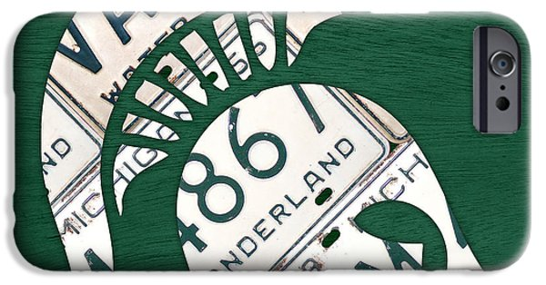 States Mixed Media iPhone Cases - Michigan State Spartans Sports Retro Logo License Plate Fan Art iPhone Case by Design Turnpike