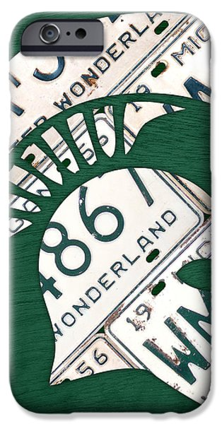 Michigan State Spartans Sports Retro Logo License Plate Fan Art iPhone Case by Design Turnpike