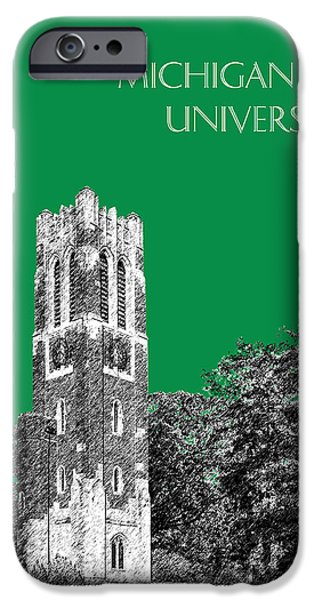 Universities Digital iPhone Cases - Michigan State University - Forest Green iPhone Case by DB Artist