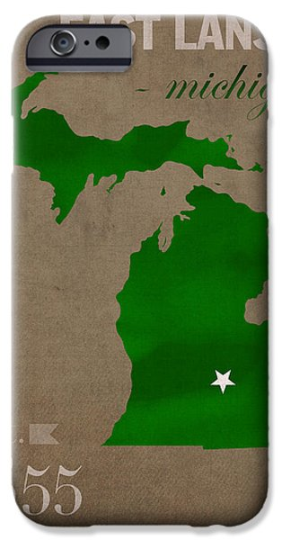 Michigan iPhone Cases - Michigan State University Spartans East Lansing College Town State Map Poster Series No 004 iPhone Case by Design Turnpike