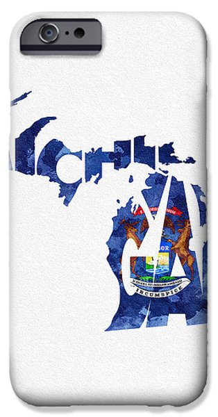 Original Watercolor iPhone Cases - Michigan Typographic Map Flag iPhone Case by Ayse Deniz