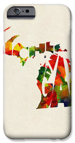 Original Watercolor iPhone Cases - Michigan Typographic Watercolor Map iPhone Case by Ayse Deniz