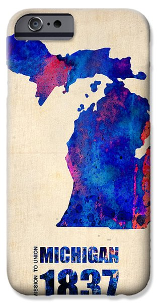 Home iPhone Cases - Michigan Watercolor Map iPhone Case by Naxart Studio