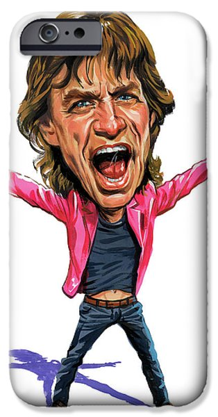 Art iPhone Cases - Mick Jagger iPhone Case by Art