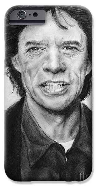 Music Pastels iPhone Cases - Mick Jagger iPhone Case by Natalia Chaplin