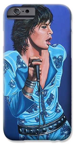 Painted Paintings iPhone Cases - Mick Jagger iPhone Case by Paul  Meijering