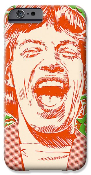 Beatles Digital Art iPhone Cases - Mick Jagger Pop Art iPhone Case by Jim Zahniser