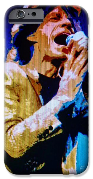 Mick Jagger Paintings iPhone Cases - Mick Jagger Pop Art iPhone Case by Ryszard Sleczka