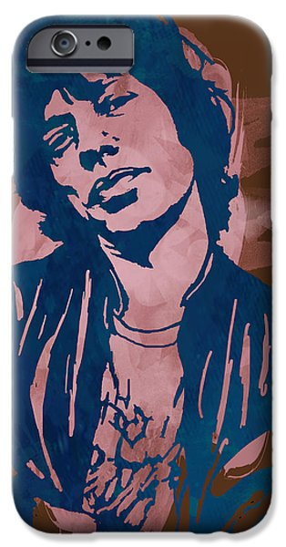 Keith Richards iPhone Cases - Mick Jagger - Pop Stylised Art Sketch Poster iPhone Case by Kim Wang