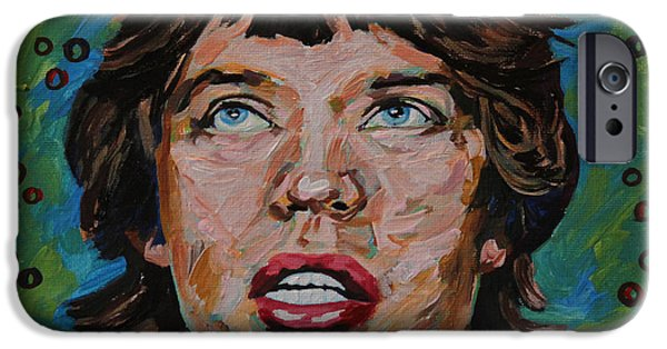 Beatles iPhone Cases - Mick Jagger Portrait iPhone Case by Robert Yaeger