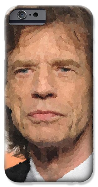 Mick Jagger Paintings iPhone Cases - Mick Jagger iPhone Case by Samuel Majcen