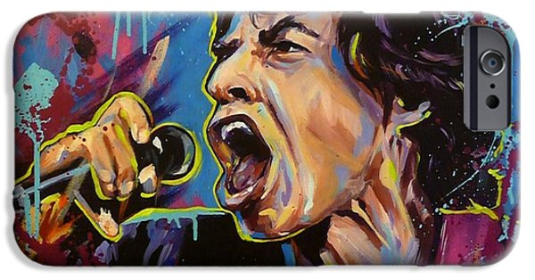 Mick Jagger Paintings iPhone Cases - Mick Jagger iPhone Case by Susie Hooban