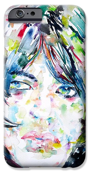 Mick Jagger Paintings iPhone Cases - MICK JAGGER - watercolor portrait.1 iPhone Case by Fabrizio Cassetta