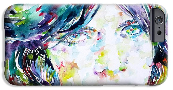 Mick Jagger Paintings iPhone Cases - MICK JAGGER - watercolor portrait.2 iPhone Case by Fabrizio Cassetta