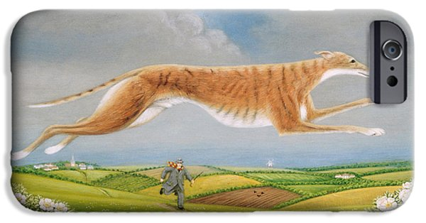 Dog Walking iPhone Cases - Mick The Miller, 1992 Oils And Tempera On Panel iPhone Case by Frances Broomfield