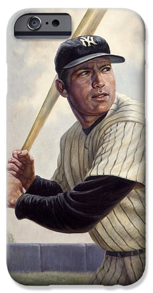 Pinstripes iPhone Cases - Mickey Mantle iPhone Case by Gregory Perillo