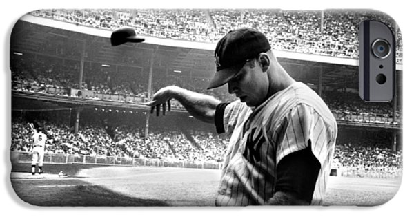 Legend iPhone Cases - Mickey Mantle iPhone Case by Gianfranco Weiss