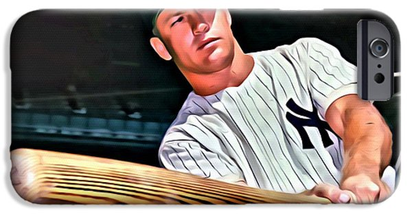 Mlb iPhone Cases - Mickey Mantle Painting iPhone Case by Florian Rodarte